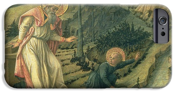 Tuscan Landscapes iPhone Cases - The Vision Of St. Augustine, Late 1450s Panel iPhone Case by Filippino Lippi