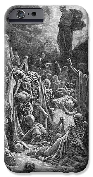 Skeleton Drawings iPhone Cases - The Vision of the Valley of Dry Bones iPhone Case by Gustave Dore