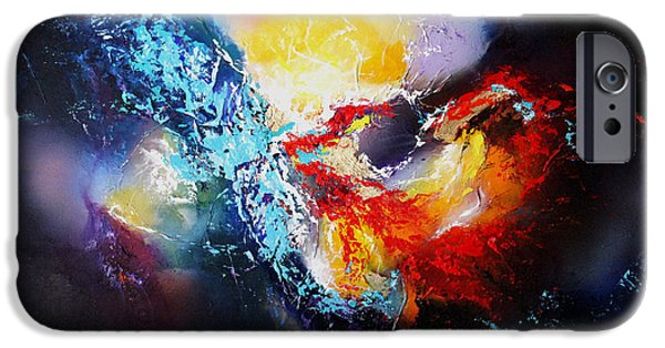 Deep Space Art Paintings iPhone Cases - The Vortex iPhone Case by Patricia Lintner
