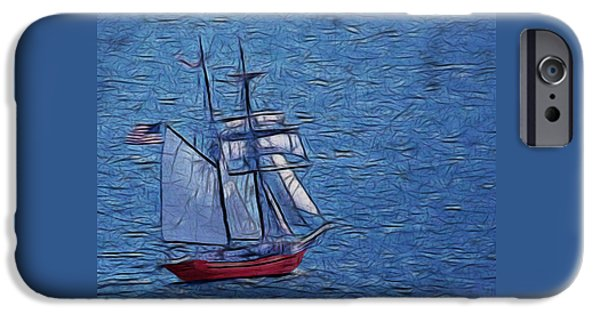Sailboat Ocean Digital Art iPhone Cases - The Voyage Digital Art iPhone Case by Ernie Echols