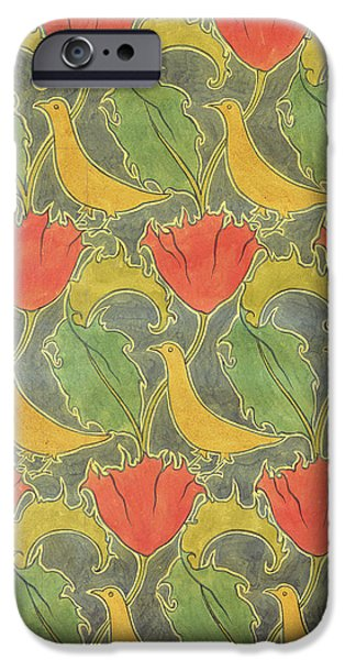 Shape Drawings iPhone Cases - The Voysey Birds iPhone Case by Voysey