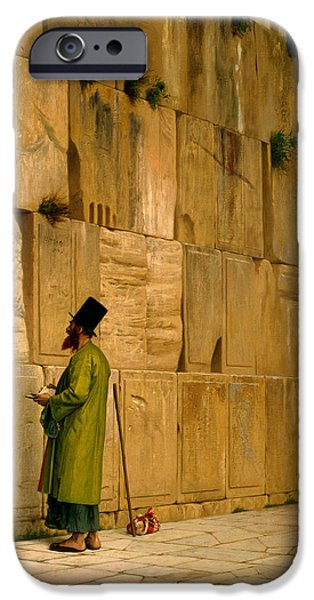Gerome iPhone Cases - The Wailing Wall iPhone Case by Jean-Leon Gerome