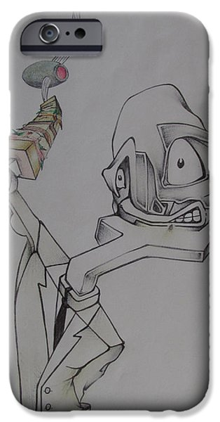 Waiter Drawings iPhone Cases - The Waiter iPhone Case by Noah Zark
