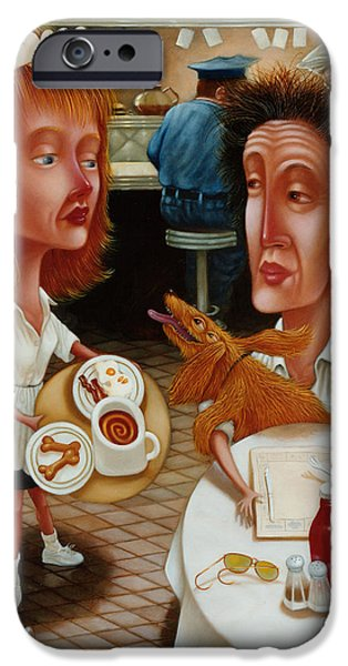 Americana Paintings iPhone Cases - The Waitress 1999 iPhone Case by Larry Preston