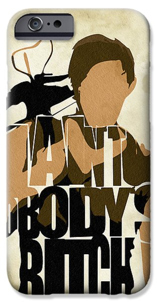 Typography Print iPhone Cases - The Walking Dead Inspired Daryl Dixon Typographic Artwork iPhone Case by Ayse Deniz