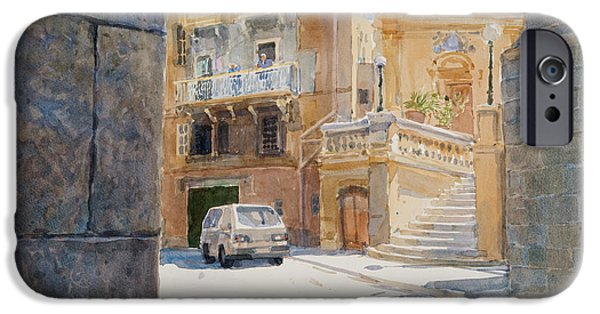 Balcony iPhone Cases - The Walls Of Birgu, 2011 Wc On Paper iPhone Case by Lucy Willis