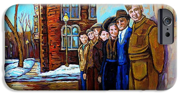 Streets Of Montreal iPhone Cases - The War Years 1942 Montreal St Mathieu And De Maisonneuve Street Scene Canadian Art Carole Spandau iPhone Case by Carole Spandau