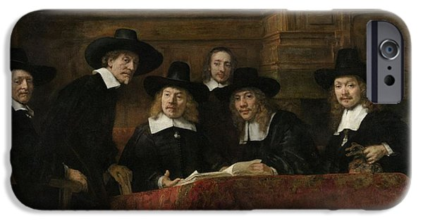 Citizens iPhone Cases - The Wardens Of The Amsterdam Drapers' Guild, Known As 'the Syndics', 1662 Oil On Canvas iPhone Case by Rembrandt Harmensz. van Rijn