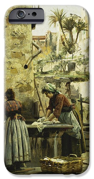 Women Only iPhone Cases - The Washerwomen iPhone Case by Peder Monsted