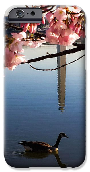 Washingtondc iPhone Cases - The Washington Monument Through the Cherry Blossoms iPhone Case by Debra Bowers