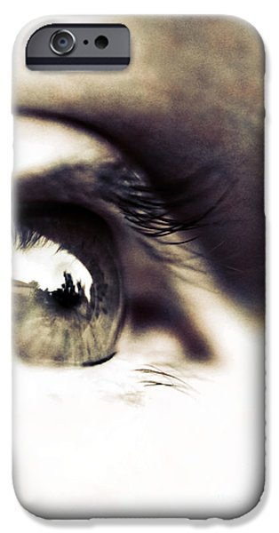 Eyebrow iPhone Cases - The Watcher iPhone Case by Trish Mistric