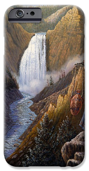 Western Art Digital Art iPhone Cases - The Water Carrier Yellowstone iPhone Case by Gregory Perillo