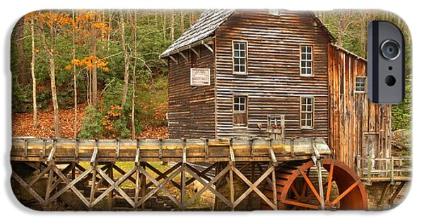 Grist Mill iPhone Cases - The Water Trough At Glade Creek iPhone Case by Adam Jewell