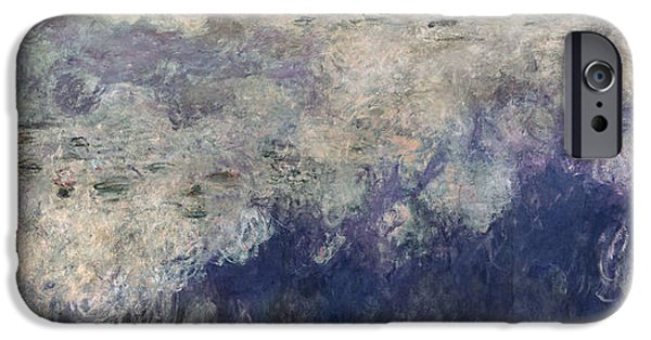 `les iPhone Cases - The Waterlilies - The Clouds Central Section 1915-26 Oil On Canvas See Also 64184 & 64186 iPhone Case by Claude Monet