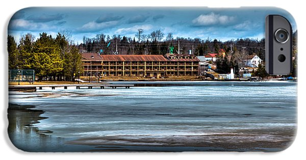 Snow Scene iPhone Cases - The Waters Edge Inn on Old Forge Pond iPhone Case by David Patterson