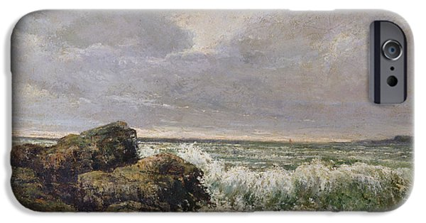 Sea iPhone Cases - The Wave, 1869 Oil On Canvas iPhone Case by Gustave Courbet