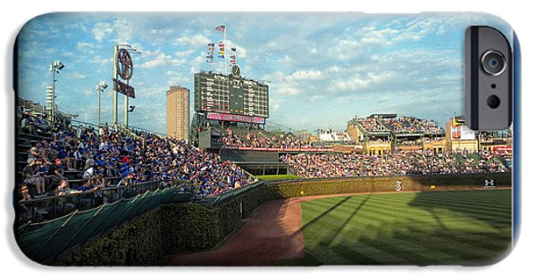 Chicago Cubs Mixed Media iPhone Cases - The Way It Was  Chicago Cubs Bleachers Textured iPhone Case by Thomas Woolworth