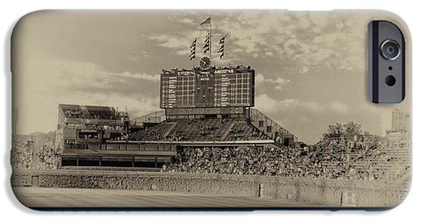 Wrigley iPhone Cases - The Way It Was Chicago Cubs Scoreboard Heirloom iPhone Case by Thomas Woolworth