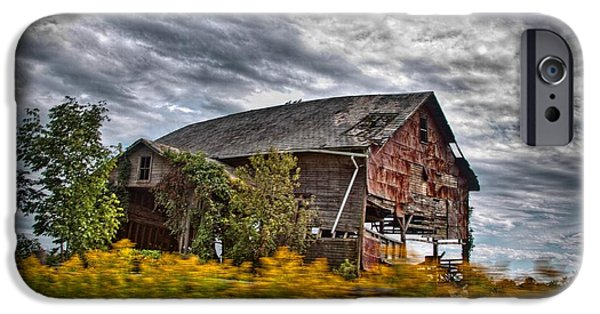 Torn iPhone Cases - The Weathered Barn iPhone Case by Linda Unger