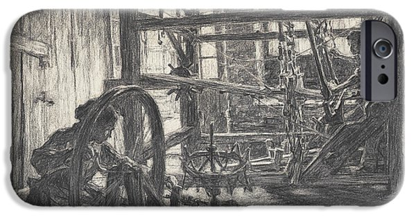 Works Drawings iPhone Cases - The Weaver and his Wife iPhone Case by Leon Augustin Lhermitte