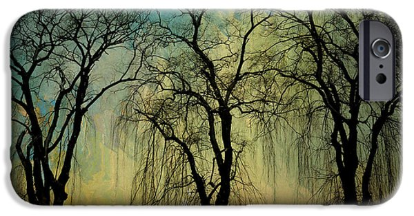 Botanic Illustration Digital Art iPhone Cases - The Weeping Trees iPhone Case by Bedros Awak
