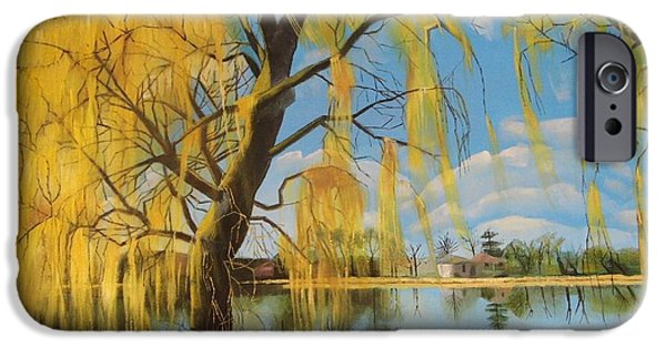 Recently Sold -  - Willow Lake iPhone Cases - The Weeping Willow iPhone Case by Antonia Posey