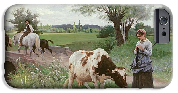 Rural iPhone Cases - The Well Kept Cow iPhone Case by Edouard Debat-Ponsan