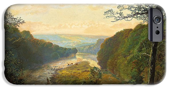 Figures Paintings iPhone Cases - The Wharfe Valley with Barden Tower Beyond iPhone Case by John Atkinson Grimshaw