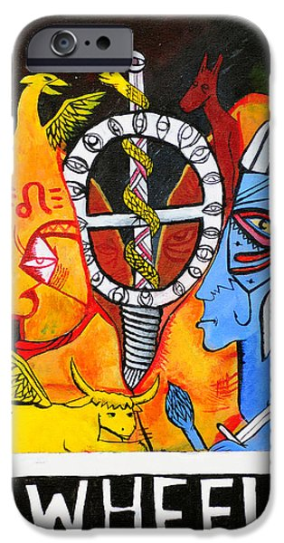 Horus Paintings iPhone Cases - The Wheel iPhone Case by Dylan Gittings