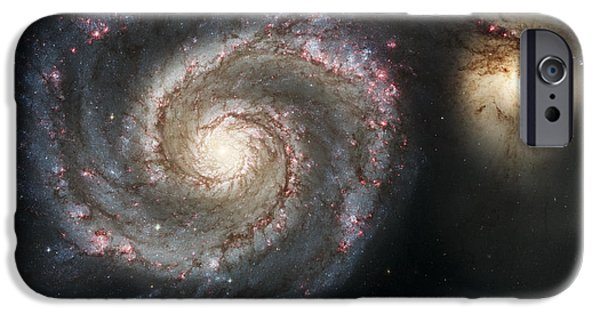 Stellar iPhone Cases - The Whirlpool Galaxy M51 and Companion iPhone Case by Adam Romanowicz