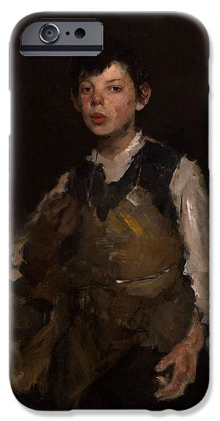 Young iPhone Cases - The Whistling Boy, 1902 Oil On Canvas iPhone Case by Frank Duveneck