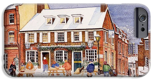 Pub iPhone Cases - The White Bear, Hampstead, 1990 Watercolour On Paper iPhone Case by Gillian Lawson