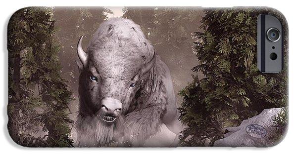 Bison Art iPhone Cases - The White Buffalo iPhone Case by Daniel Eskridge