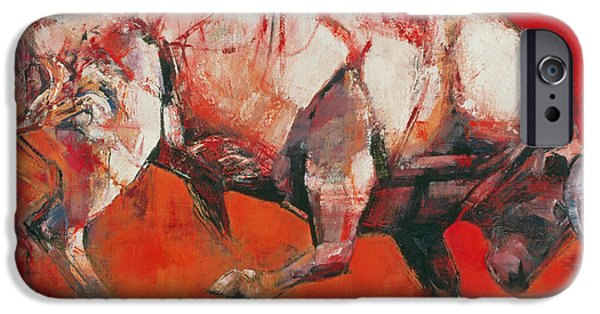 Creatures Paintings iPhone Cases - The White Bull iPhone Case by Mark Adlington