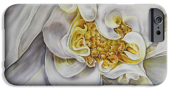Botany Tapestries - Textiles iPhone Cases - The White Dahlia iPhone Case by Violetta Kurbanova