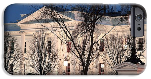 Cora Wandel iPhone Cases - The White House At Dusk iPhone Case by Cora Wandel