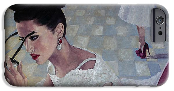 Love Laces iPhone Cases - The White Lace Dress iPhone Case by Dorina  Costras