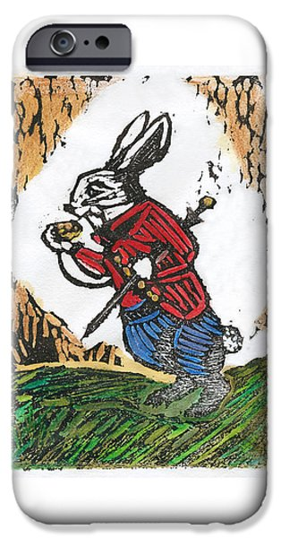 Alice In Wonderland Reliefs iPhone Cases - The White Rabbit iPhone Case by Barbara M Wilson