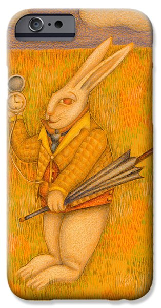 Vibrant Colors Drawings iPhone Cases - The White Rabbit iPhone Case by MC Iglesias