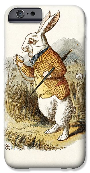 Alice In Wonderland iPhone Cases - The White Rabbit, Nursery alice (1890) iPhone Case by British Library