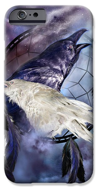 Raven iPhone Cases - The White Raven iPhone Case by Carol Cavalaris