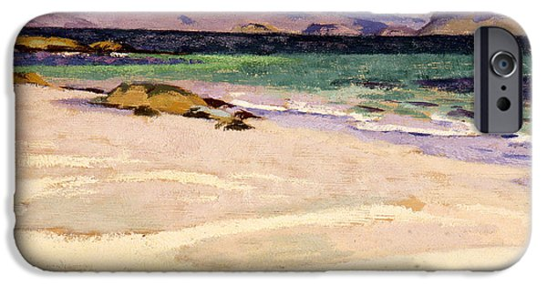 Colorist iPhone Cases - The White Strand  Iona iPhone Case by Francis Campbell Boileau Cadell
