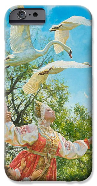Russian iPhone Cases - The white swan iPhone Case by Victoria Kharchenko