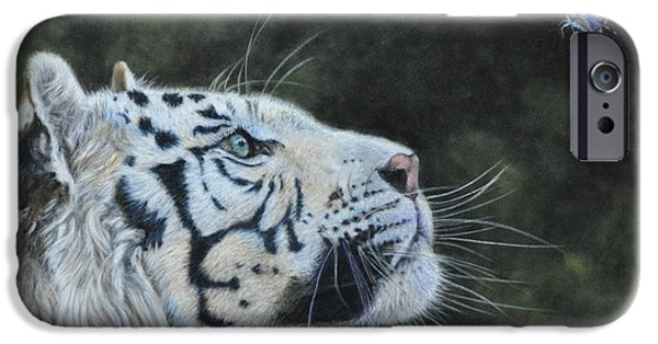 Nature Study iPhone Cases - The White Tiger and the Butterfly iPhone Case by Louise Charles-Saarikoski
