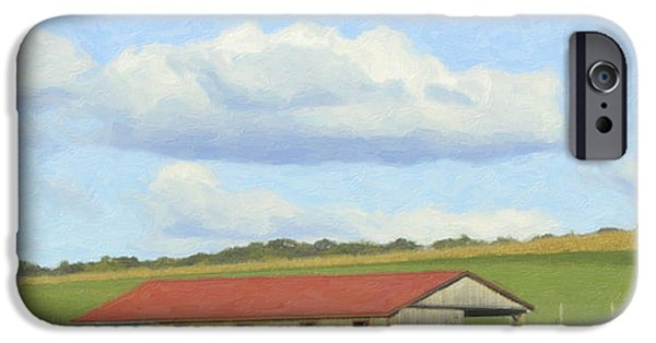 Field. Cloud Mixed Media iPhone Cases - The Whole Farm To Himself iPhone Case by Trish Tritz