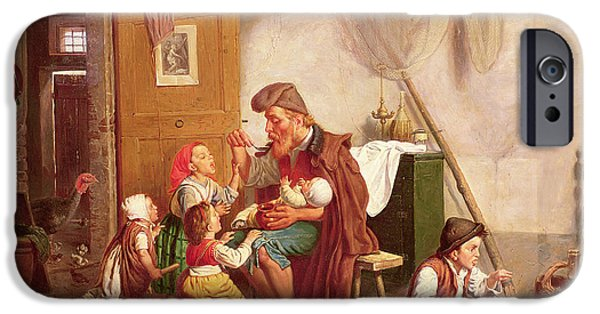 Young Boy iPhone Cases - The Widowed Family, 19th Century iPhone Case by Giuseppe Mazzolini
