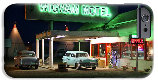 Night Digital iPhone Cases - The Wigwam Motel On Route 66 2 iPhone Case by Mike McGlothlen
