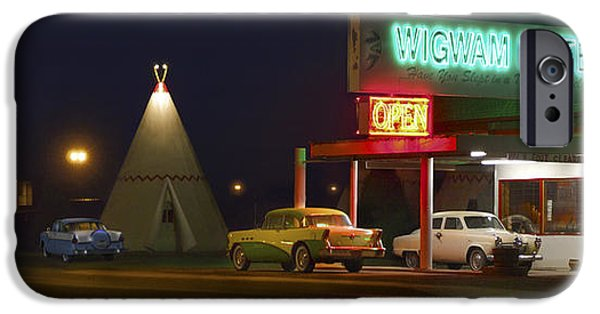 Night Scenes iPhone Cases - THE WIGWAM MOTEL ON ROUTE 66 Panoramic iPhone Case by Mike McGlothlen