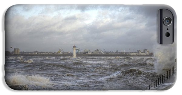 Turbulent Skies iPhone Cases - The wild Mersey iPhone Case by Karen Lawrence  SMPhotography