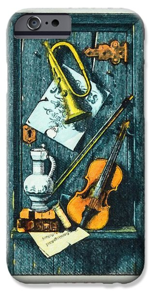 Old Pitcher Paintings iPhone Cases - The William M.Harnett stamp iPhone Case by Lanjee Chee